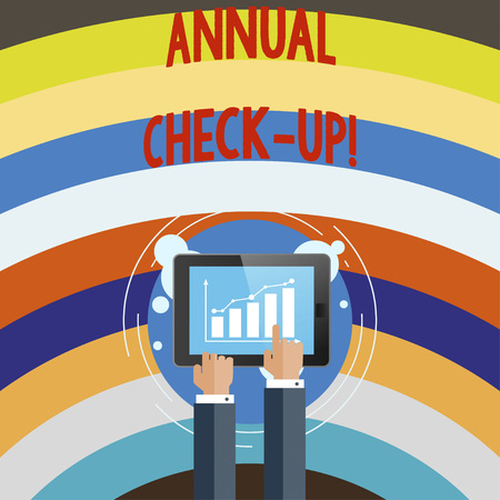 Conceptual hand writing showing Annual Check Up. Business photo text Yearly evaluation and demonstrating the health status