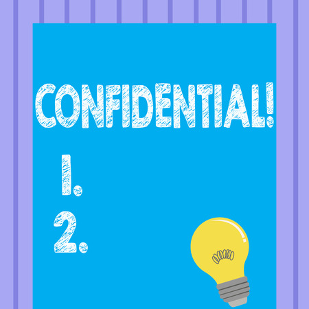 Word writing text Confidential. Business concept for Agreements between two parties are private and protected