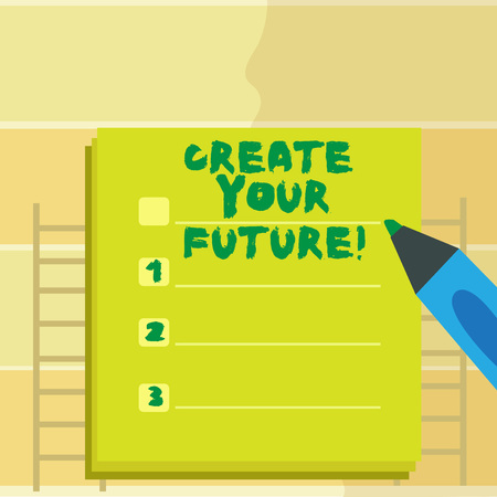 Text sign showing Create Your Future. Conceptual photo career goals Targets improvement set plans learning