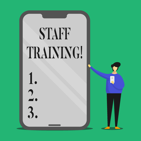 Text sign showing Staff Training. Conceptual photo Teaching Teamwork new things Employee Education Preparation Banco de Imagens