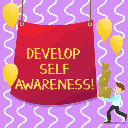 Conceptual hand writing showing Develop Self Awareness. Business photo showcasing improve your Informations about surrounding events