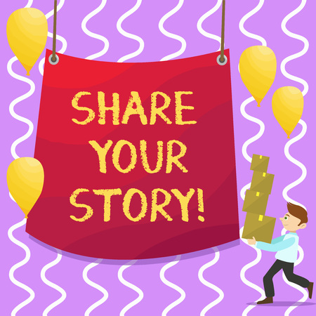 Conceptual hand writing showing Share Your Story. Business photo showcasing Tell demonstratingal experiences talk about yourself Storytelling Imagens - 118098646