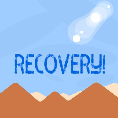 Word writing text Recovery. Business concept for Return to normal state of health Regain possession or control Reklamní fotografie