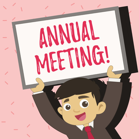 Text sign showing Annual Meeting. Conceptual photo Yearly Company Assembly Business Conference Report Event