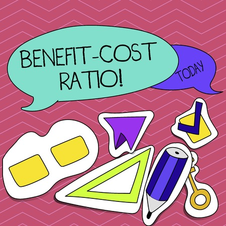Writing note showing Benefit Cost Ratio. Business photo showcasing Relationship between the costs and benefits of project
