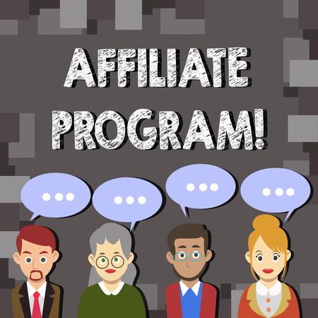 Writing note showing Affiliate Program. Business photo showcasing software link songs apps books and sell them to earn money