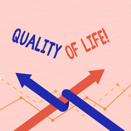 Text sign showing Quality Of Life. Conceptual photo Good Lifestyle Happiness Enjoyable Moments Wellbeing Imagens