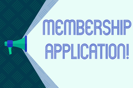 Word writing text Membership Application. Business concept for Registration to Join a team group or organization