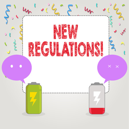 Text sign showing New Regulations. Conceptual photo Change of Laws Rules Corporate Standards Specifications Archivio Fotografico