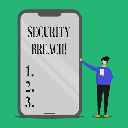 Text sign showing Security Breach. Conceptual photo Unauthorized access to Data Network Applications Devices Stock fotó