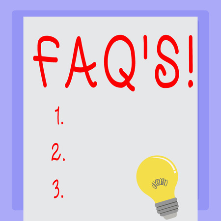 Handwriting text Faq's. Concept meaning Multiple questions answered for online product