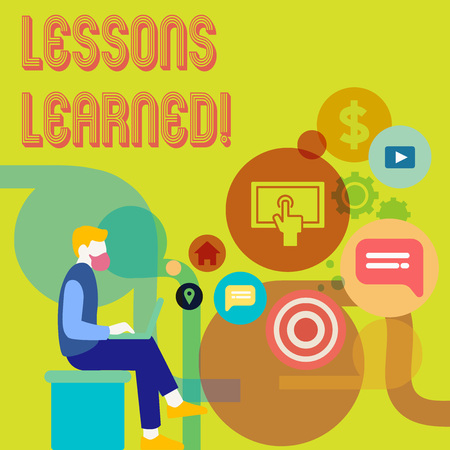 Word writing text Lessons Learned. Business concept for Experiences that should be taken into account in the future Stock Photo