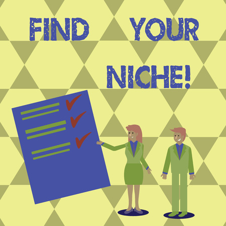 Writing note showing Find Your Niche. Business photo showcasing search for your field Decide Choice education Work