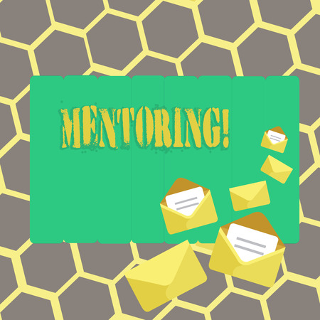 Text sign showing Mentoring. Conceptual photo To give advice or support to a younger less experienced demonstrating