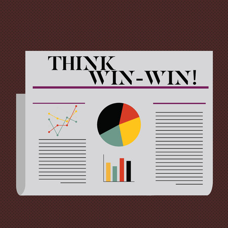 Word writing text Think Win Win. Business concept for Negotiation strategy for both partners to obtain benefits Фото со стока