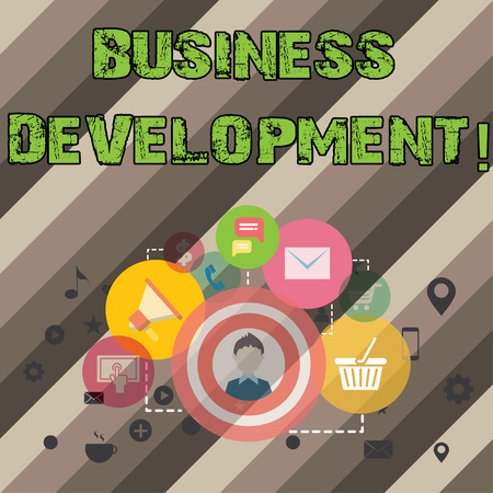 Writing note showing Business Development. Business photo showcasing Develop and Implement Organization Growth Opportunities Imagens