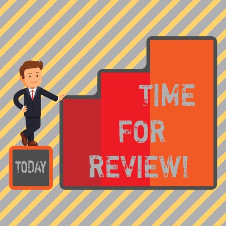 Writing note showing Time For Review. Business photo showcasing Giving Feedback Evaluation Rate job test or product Qualify