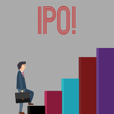 Writing note showing Ipo. Business photo showcasing Initial Public Offering First time stock of company is offered to public Stockfoto