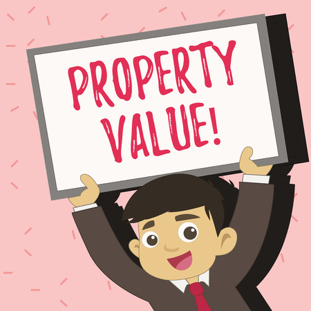 Text sign showing Property Value. Conceptual photo Estimate of Worth Real Estate Residential Valuation Stok Fotoğraf