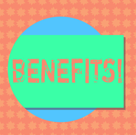 Writing note showing Benefits. Business photo showcasing Hike in allowance and salary for senior employees of the company Rectangular Color Shape with Shadow Coming Out from a Circle