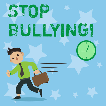 Conceptual hand writing showing Stop Bullying. Business photo showcasing Do not continue Abuse Harassment Aggression Assault Scaring Stock Photo