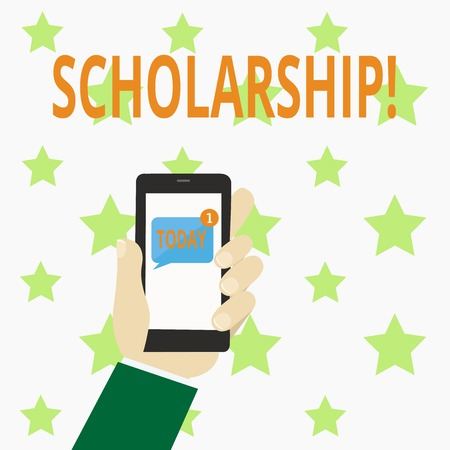 Writing note showing Scholarship. Business photo showcasing Grant or Payment made to support education Academic Study