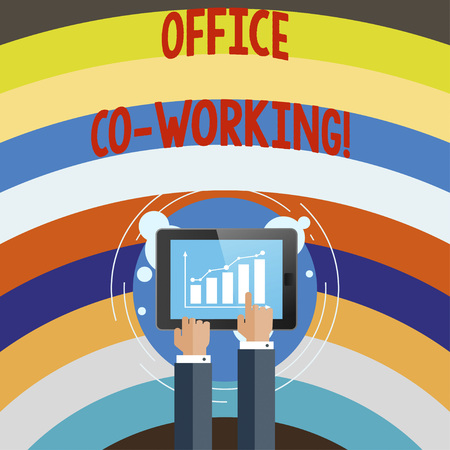 Conceptual hand writing showing Office Co Working. Business photo text Business services providing shared spaces to work