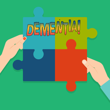 Word writing text Dementia. Business concept for Long term memory loss sign and symptoms made me retire sooner 版權商用圖片