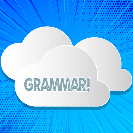 Word writing text Grammar. Business concept for System and Structure of a Language Correct Proper Writing Rules Stockfoto