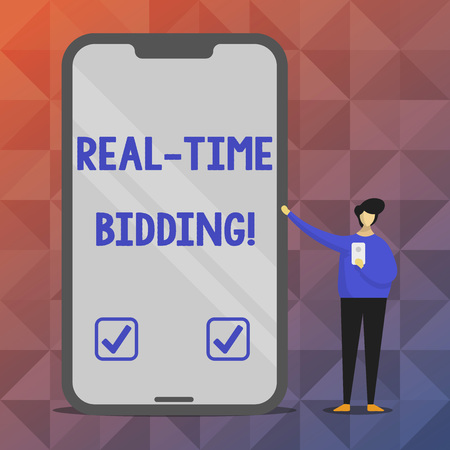 Text sign showing Real Time Bidding. Conceptual photo Buy and sell advertising inventory by instant auctions