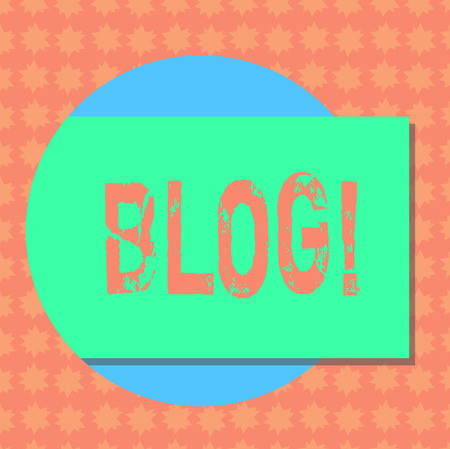 Writing note showing Blog. Business photo showcasing Preperation of catchy content for blogging websites Rectangular Color Shape with Shadow Coming Out from a Circle
