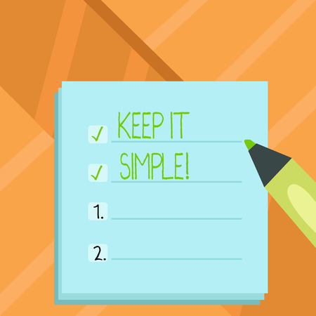 Word writing text Keep It Simple. Business concept for Simplify Things Easy Clear Concise Ideas Stock Photo - 118133089