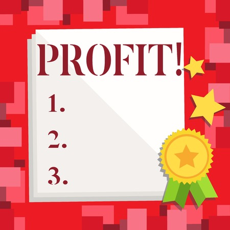 Conceptual hand writing showing Profit. Business photo showcasing Earned Money Payment Salary Business Revenue Banque d'images