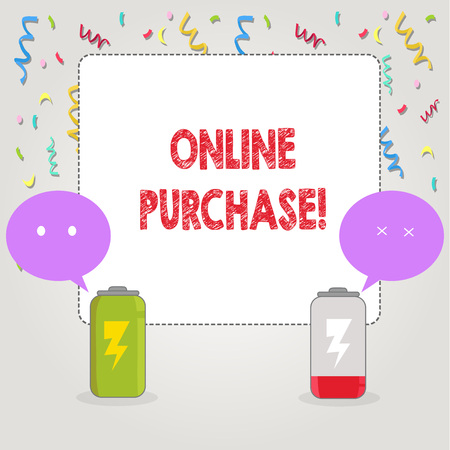 Text sign showing Online Purchase. Conceptual photo Buy things on the net Go shopping without leaving home