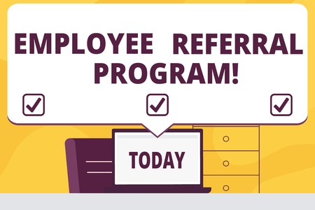 Word writing text Employee Referral Program. Business concept for strategy work encourage employers through prizes