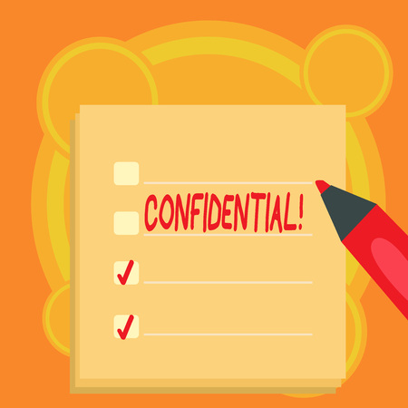 Text sign showing Confidential. Conceptual photo Agreements between two parties are private and protected Stockfoto