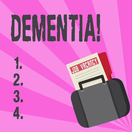 Conceptual hand writing showing Dementia. Business photo text Long term memory loss sign and symptoms made me retire sooner