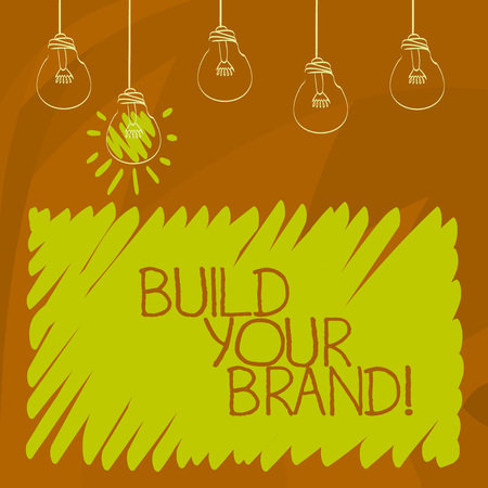 Conceptual hand writing showing Build Your Brand. Business photo showcasing create your own logo slogan Model Advertising E Marketing