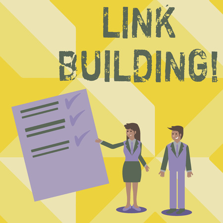 Handwriting text writing Link Building. Concept meaning Process of acquiring hyperlinks from other websites Connection