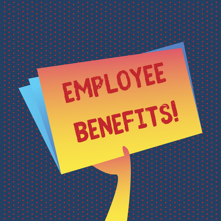 Conceptual hand writing showing Employee Benefits. Business photo showcasing list of advantage recruiter get at work Insurance