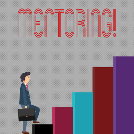 Writing note showing Mentoring. Business photo showcasing To give advice or support to a younger less experienced demonstrating Stockfoto