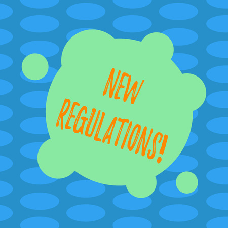 Word writing text New Regulations. Business concept for Change of Laws Rules Corporate Standards Specifications Blank Deformed Color Round Shape with Small Circles Abstract photo Archivio Fotografico