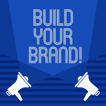 Text sign showing Build Your Brand. Conceptual photo create your own logo slogan Model Advertising E Marketing Stockfoto