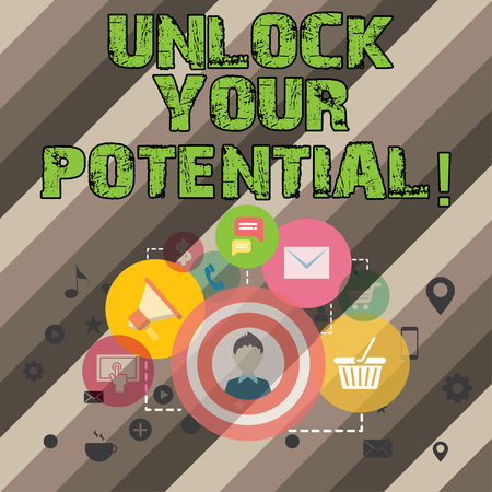 Writing note showing Unlock Your Potential. Business photo showcasing Reveal talent Sow Skills Abilities