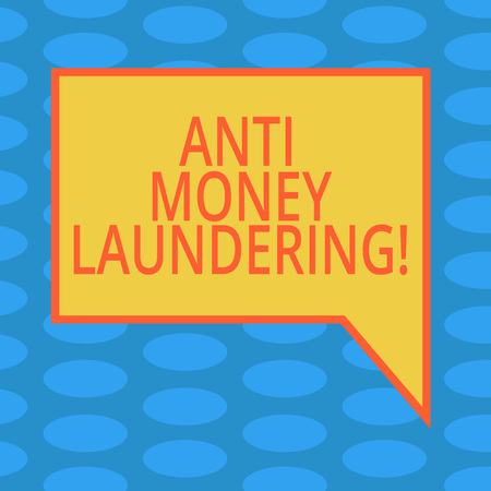 Word writing text Anti Money Laundering. Business concept for entering projects to get away dirty money and clean it Blank Rectangular Color Speech Bubble with Border photo Right Hand Фото со стока