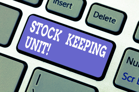 Text sign showing Stock Keeping Unit. Conceptual photo product and service identification code store or product Keyboard key Intention to create computer message pressing keypad idea