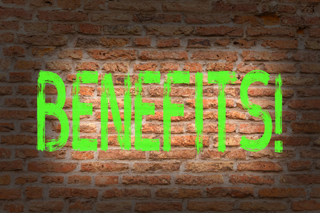 Word writing text Benefits. Business photo showcasing Advantage Insurance Compensation Interest Revenue Gain Aid Brick Wall art like Graffiti motivational call written on the wall