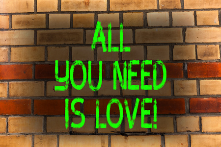 Word writing text All You Need Is Love. Business photo showcasing Deep affection needs appreciation roanalysisce Brick Wall art like Graffiti motivational call written on the wall Stock fotó