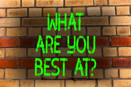 Word writing text What Are You Best At question. Business photo showcasing Individual creativity is a unique capability Brick Wall art like Graffiti motivational call written on the wall