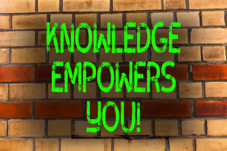 Word writing text Knowledge Empowers You. Business photo showcasing Education responsible to achieve your success Brick Wall art like Graffiti motivational call written on the wall